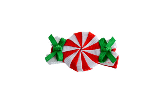 Holiday Christmas Ribbon Sculpture Hair Clip - Peppermint Candy - Dream Lily Designs