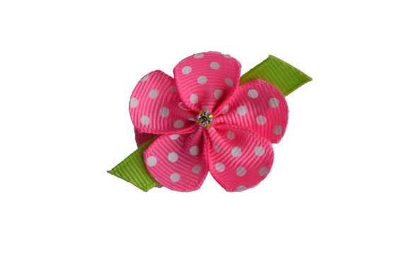 Flower Ribbon Sculpture Shape Clip - Tiny Pink Polka Dot - Dream Lily Designs