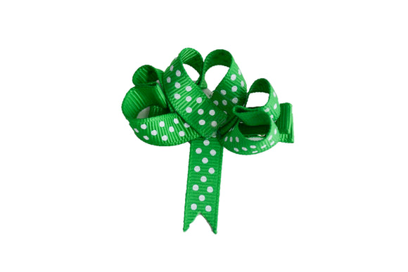 Holiday St. Patrick's Day Ribbon Sculpture Hair Clip - Green Polka Dot Shamrock - Dream Lily Designs