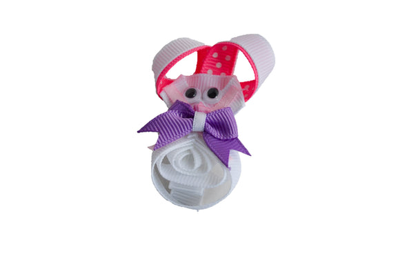Animal and Bug Easter Ribbon Sculpture Hair Clip - White Purple Bunny - Dream Lily Designs