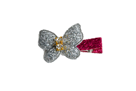 Butterfly Glitter Hair Clip - Small Silver Butterfly - Dream Lily Designs