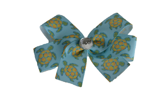 1 Inch Sea Turtle Pattern Bow (Animal) - Dream Lily Designs