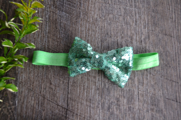 Sequin Bowtie Headband - Light Green - Dream Lily Designs