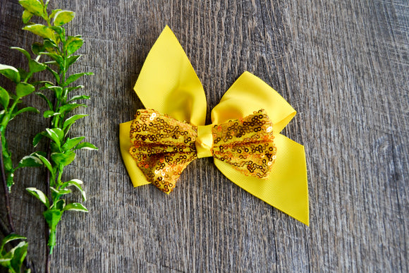 6 Inch Sequin Ribbon Bow - Yellow - Dream Lily Designs