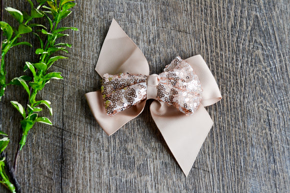 6 Inch Sequin Ribbon Bow - Tan - Dream Lily Designs