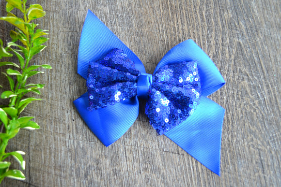 6 Inch Sequin Ribbon Bow - Royal Blue - Dream Lily Designs