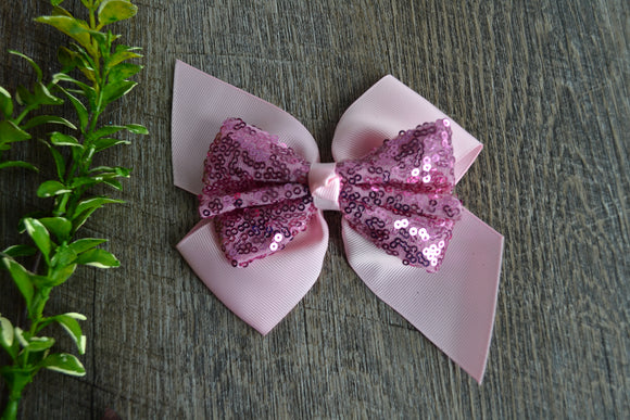 6 Inch Sequin Ribbon Bow - Light Pink - Dream Lily Designs