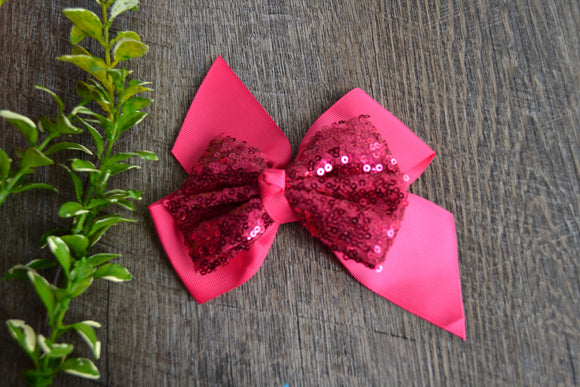 6 Inch Sequin Ribbon Bow - Hot Pink - Dream Lily Designs