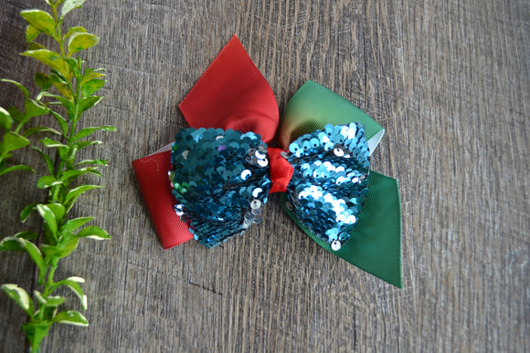 6 Inch Sequin Ribbon Bow - Red Green Blue - Dream Lily Designs