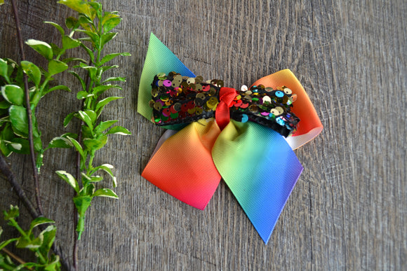 6 Inch Sequin Ribbon Bow - Rainbow - Dream Lily Designs