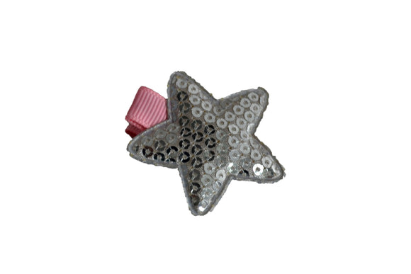 Star Sequin Hair Clip - Silver Pink - Dream Lily Designs
