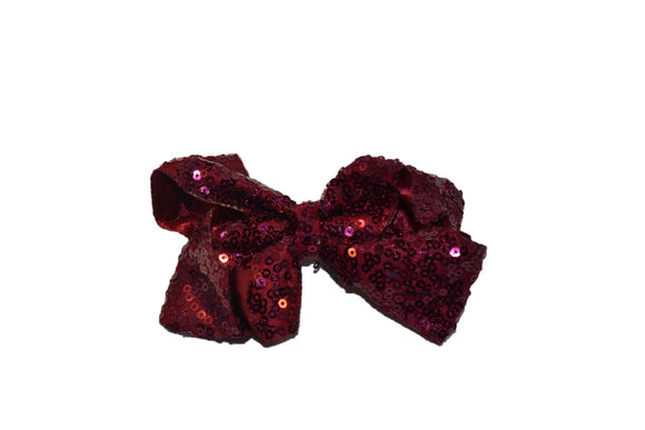 Maroon sequin 4 Inch Boutique Hair Bow - Dream Lily Designs