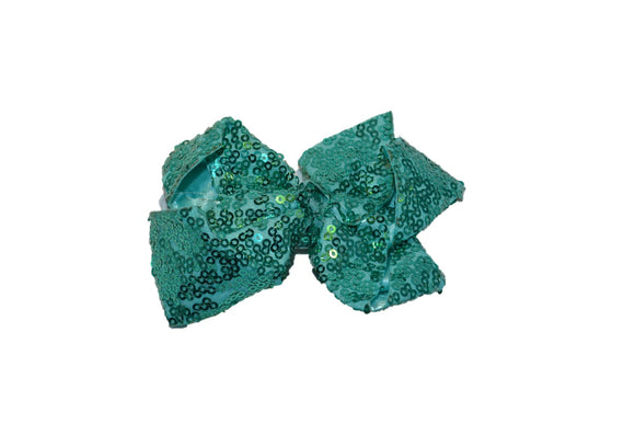 Teal sequin 4 Inch Boutique Hair Bow - Dream Lily Designs