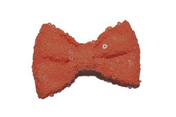 Sequin 3 Inch Bow tie Hair Clip - Orange