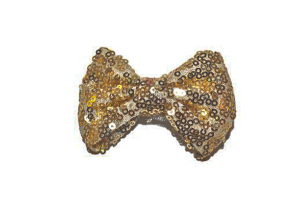 Sequin 3 Inch Bow tie Hair Clip - Ivory Gold
