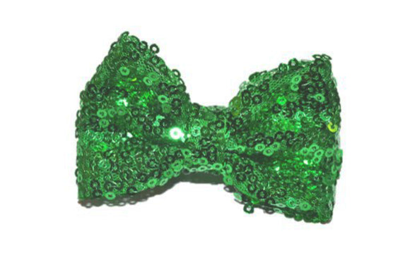 Sequin 3 Inch Bow tie Hair Clip - Kelly Green