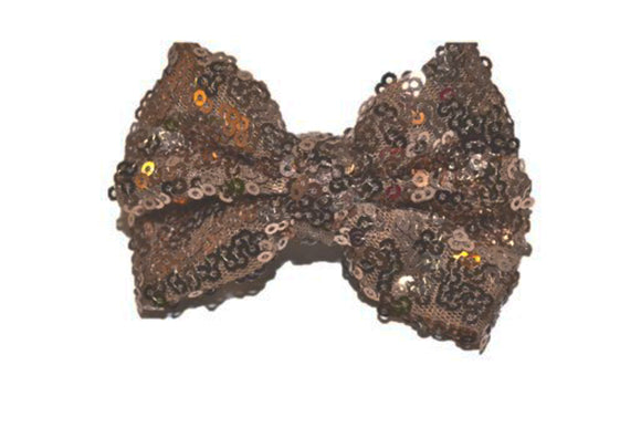 Sequin 3 Inch Bow tie Hair Clip - Brown