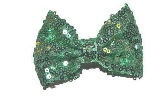 Sequin 3 Inch Bow tie Hair Clip - Mint