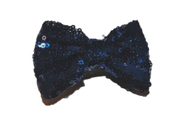 Sequin 3 Inch Bow tie Hair Clip - Navy Blue