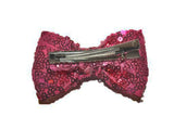 Sequin 3 Inch Bow tie Hair Clip - White - Dream Lily Designs