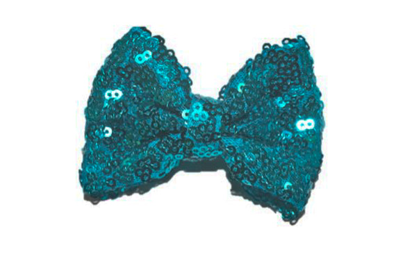 Sequin 3 Inch Bow tie Hair Clip - Teal Blue