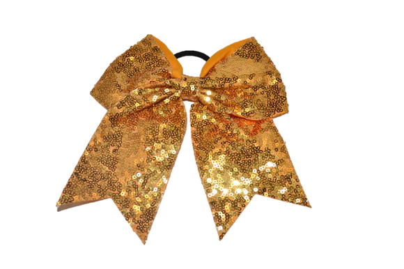 Sequin Sparkle Cheer Bow - Gold - Dream Lily Designs
