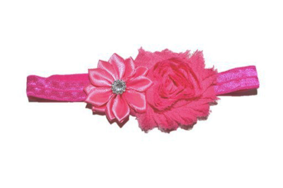 Shabby Crystal Flower Headband - Bubblegum Pink - Dream Lily Designs