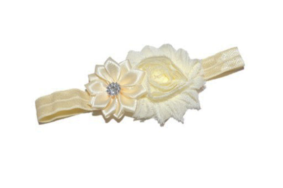 Shabby Crystal Flower Headband - Ivory - Dream Lily Designs