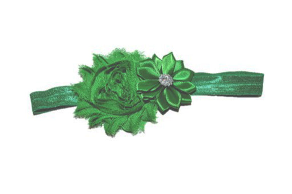 Shabby Crystal Flower Headband - Kelly Green - Dream Lily Designs