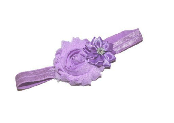 Shabby Crystal Flower Headband - Light Purple - Dream Lily Designs