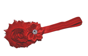 Shabby Crystal Flower Headband - Red - Dream Lily Designs