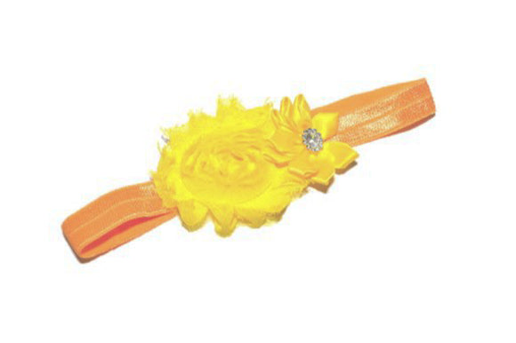 Shabby Crystal Flower Headband - Yellow with Orange Headband