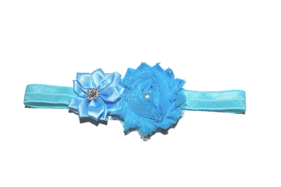 Shabby Crystal Pearl Flower Headband - Light Blue
