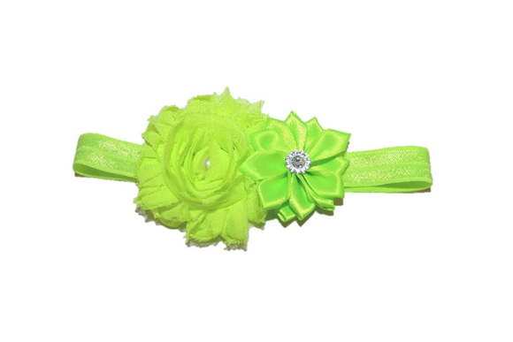 Shabby Crystal Pearl Flower Headband - Bright Green