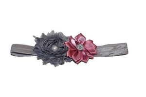 Shabby Crystal Pearl Flower Headband - Mauve Grey - Dream Lily Designs