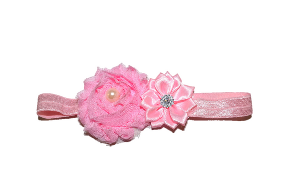 Shabby Crystal Pearl Flower Headband - Light Pink