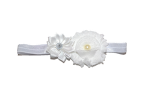 Shabby Crystal Pearl Flower Headband - White - Dream Lily Designs