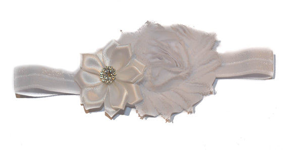 Shabby Crystal Flower Headband - White - Dream Lily Designs