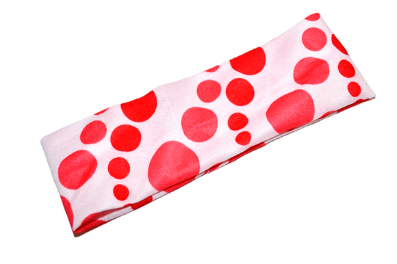 Nylon Polka Dot Headband - Coral Red