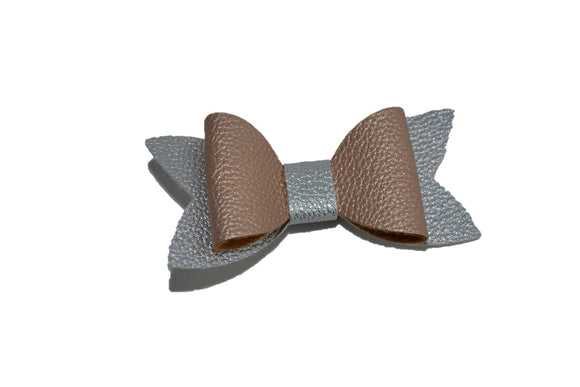 Rose Gold Silver Leather Hair Bow - Dream Lily Designs