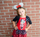 Red Minnie Ears with Light Pink Sequin Bow - Dream Lily Designs