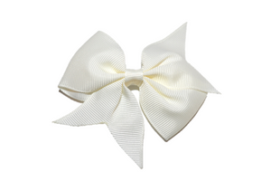 Ivory Cream Simple Hair Bow Clip - Dream Lily Designs