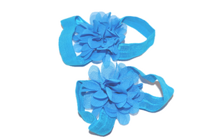 Blue Chiffon Baby Barefoot Sandals - Dream Lily Designs