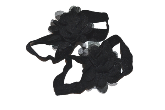 Black Chiffon Baby Barefoot Sandals - Dream Lily Designs