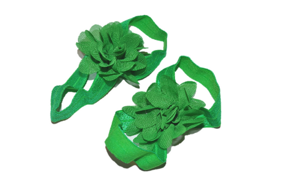 Green Chiffon Baby Barefoot Sandals - Dream Lily Designs