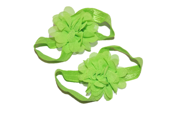 Lime Green Chiffon Baby Barefoot Sandals - Dream Lily Designs
