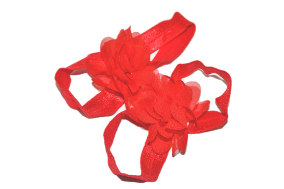 Red Chiffon Baby Barefoot Sandals