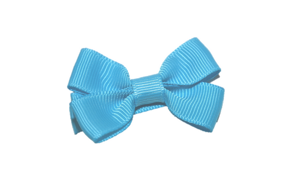 Bright Blue Tiny Hair Bow Clip - Dream Lily Designs