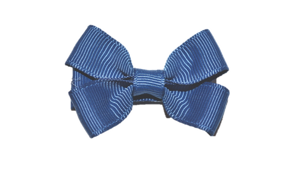 Light Navy Blue Tiny Hair Bow Clip - Dream Lily Designs