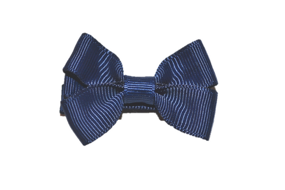 Navy Blue Tiny Hair Bow Clip